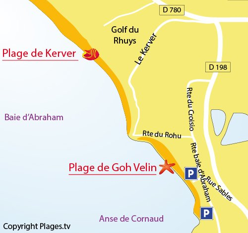 Plan de la plage de Goh Velin à St Gildas (Bretagne)