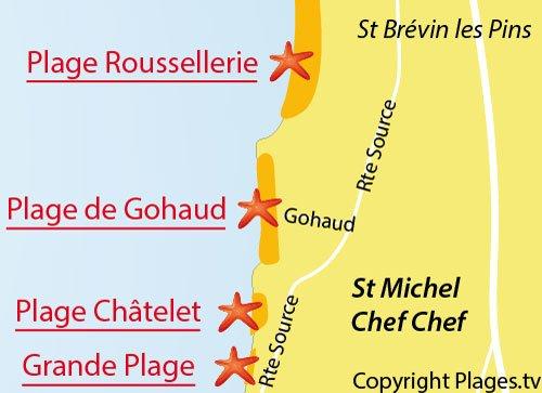 Carte de la plage de Gohaud à St Michel Chef Chef