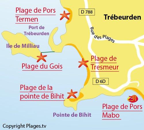Carte de la plage du Gois sur l'ile de Milliau - Trébeurden
