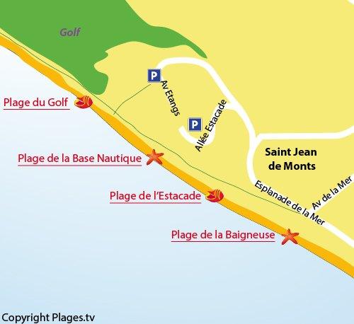 Plan de la plage du Golf à St Jean de Monts