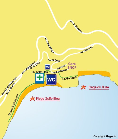 Map of Golfe Bleu Beach in Roquebrune Cap Martin