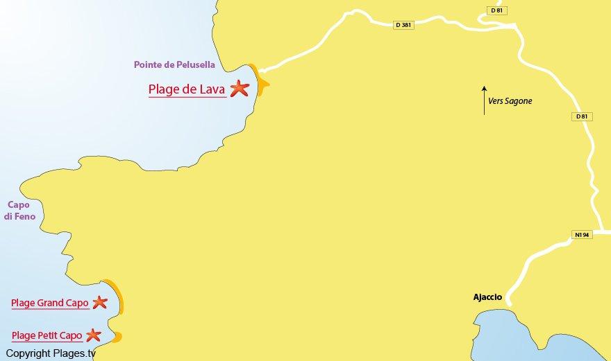 Plan des plages dans le golfe de Lava en Corse (nord Ajaccio)