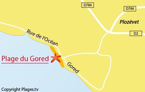 Carte de la plage du Gored à Plozévet - Bretagne