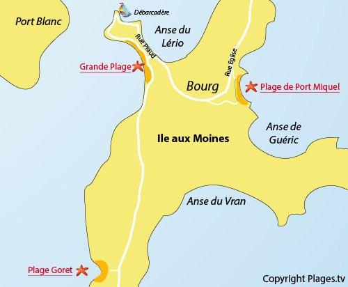 Carte de la plage du Goret sur l'Ile aux Moines