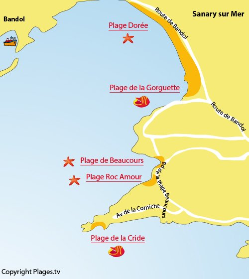 Map of Gorguette Beach in Sanary sur Mer