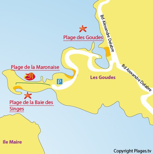Map of Goudes Beach in Marseille in France