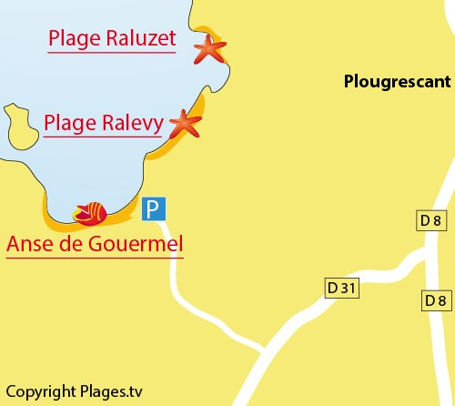 Carte de l'anse de Gouermel à Plougrescant