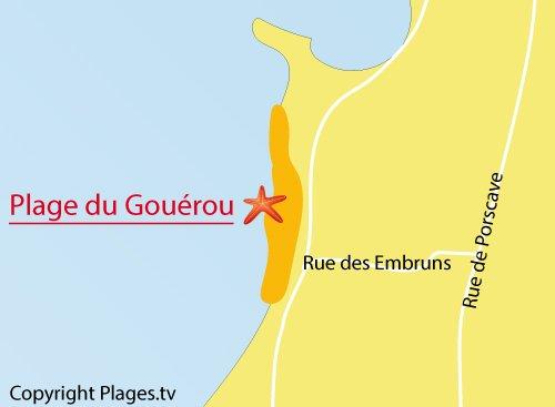 Carte de la plage du Gouérou à Lampaul Plouarzel