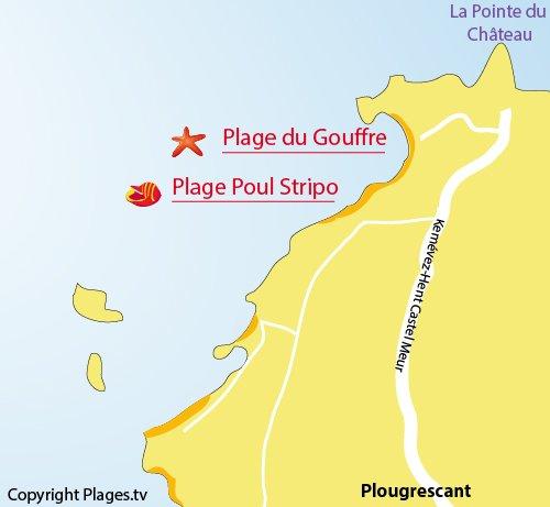 Carte de la plage du Gouffre à Plougrescant