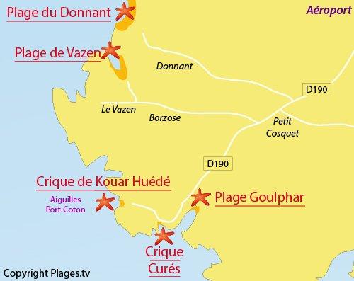 Carte de la plage de Goulphar à Belle Ile