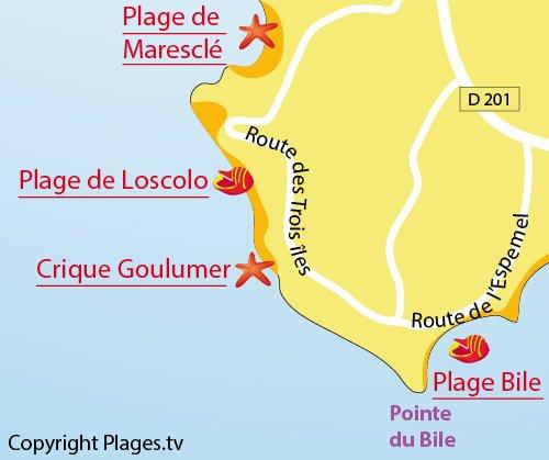 Map of Goulumer Beach in Pénestin
