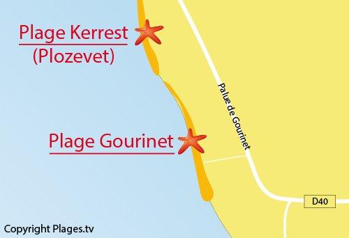 Carte de la plage du Gourinet à Pouldreuzic - Finistère Sud