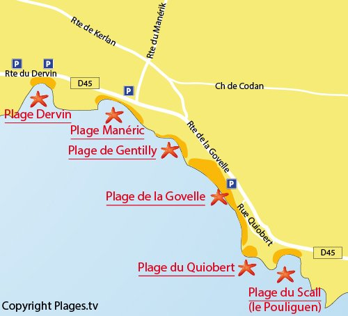 Map of Govelle Beach in Batz sur Mer