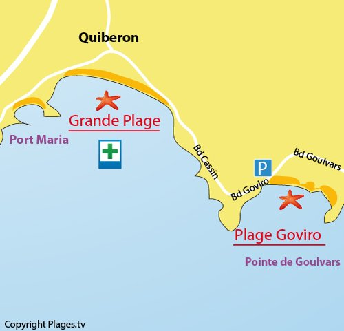 Map of Goviro Beach in Quiberon