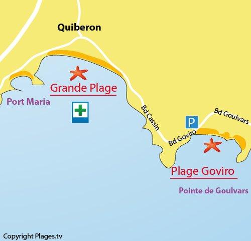 Carte de la plage de Goviro à Quiberon