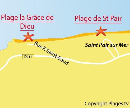 Carte de la plage Grace de Dieu à St Pair sur Mer