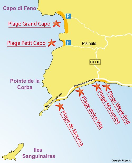 Map of Grand Capo Beach in Ajaccio - Corsica