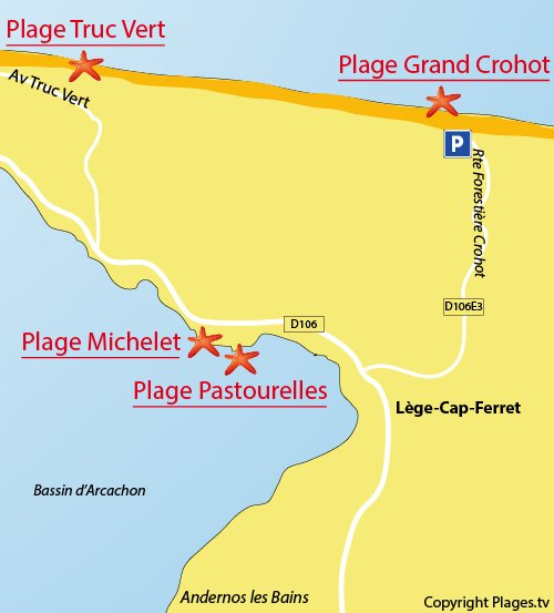 Map of Grand Crohot Beach in Cap Ferret