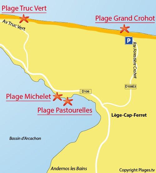 Plan de la plage du Grand Crohot au Cap Ferret (plage océane)