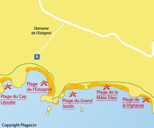 Mappa della spiaggia del Grand Jardin di Bormes les Mimosas
