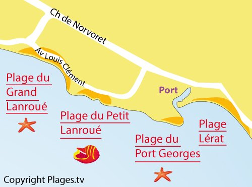Map of Grand Lanroué Beach in Piriac sur Mer