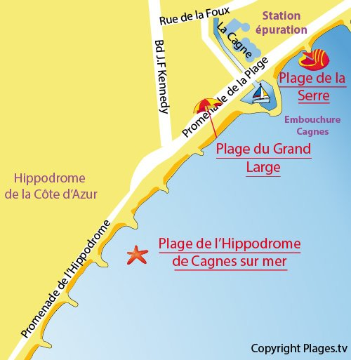 Map of Grand Large Beach in Cagnes sur Mer