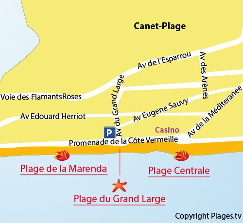 Map of Grand Large beach in Canet - France
