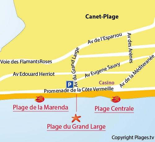 Mappa della Spiaggia del Grand Large - Canet en Roussillon