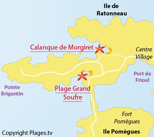 Map of Grand Soufre Beach in Frioul island