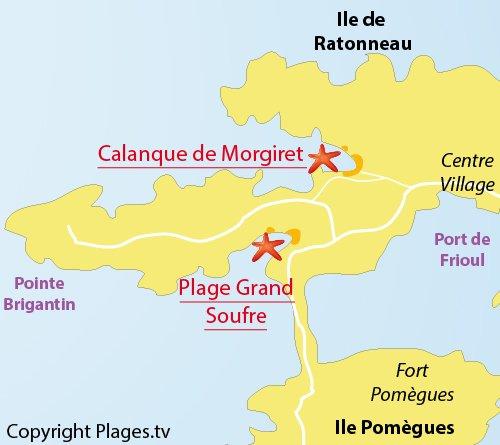Plan de la plage du Grand Soufre sur les iles de Frioul