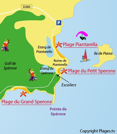 Carte de la plage du Grand Sperone de Bonifacio