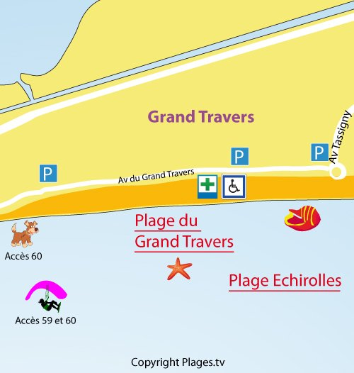 Map of the Grand Travers Beach in La Grande Motte