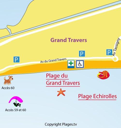 Plan de la plage du Grand Travers à La Grande Motte