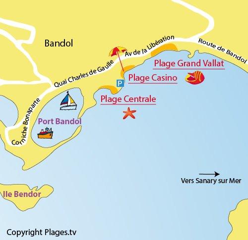Carte de la plage du Grand Vallat à Bandol
