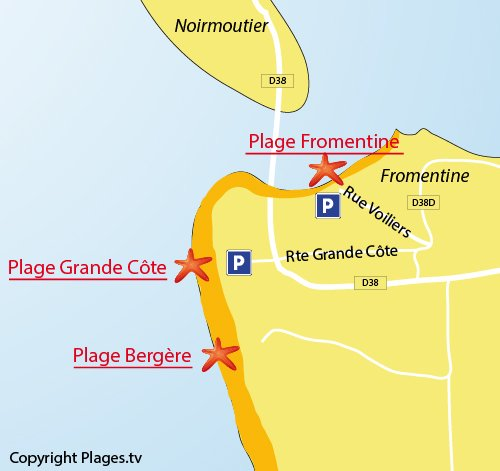 Map of Grande Cote Beach in La Barre de Monts