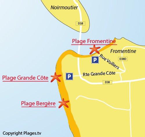 Plan de la plage de la Grande Côte à La Barre de Monts