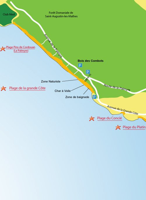 Map of Grande Cote Beach in Saint Palais sur Mer