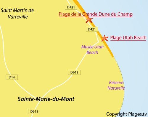 Carte de la plage de la Grande Dune - Ste Marie du Mont
