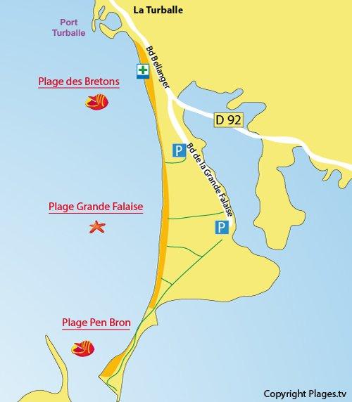 Plan de la plage de la Grande Falaise à La Turballe