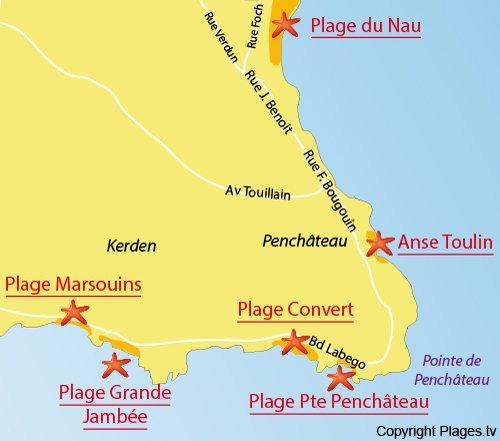 Map of Grande Jambée Beach in Le Pouliguen