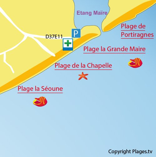 Map of Grande Maire Beach in Sérignan