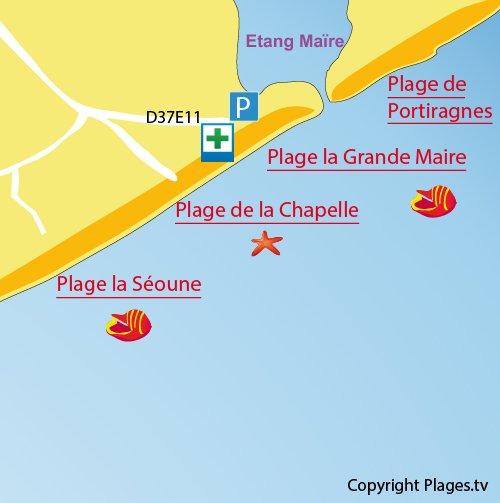 Carte de la plage de la Grande Maïre à Sérignan