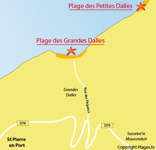 Map of Grandes Dalles beach in Normandy