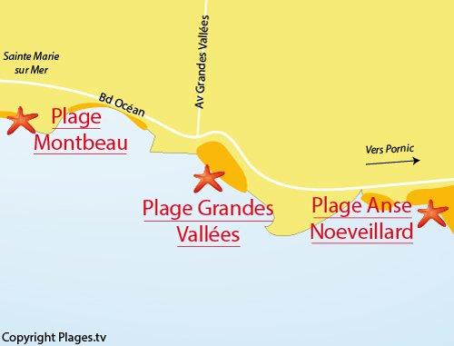 Carte de la plage des Grandes Vallées à Pornic