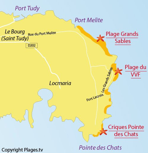 Map of Grands Sables Beach - island of Groix