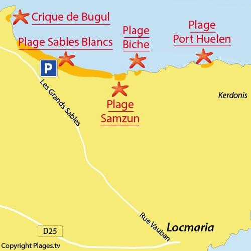 Carte de la plage des Grands Sables à Belle Ile en Mer