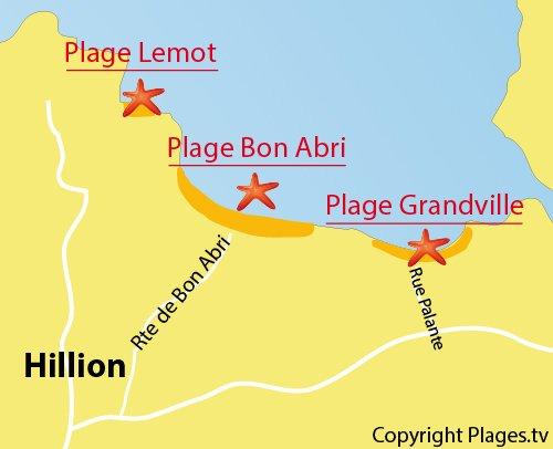 Carte de la plage de Grandville à Hillion