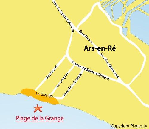 Carte de la plage de la Grange à Ars en Ré