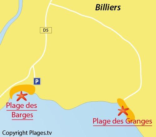 Carte de la plage des Grandes à Billiers