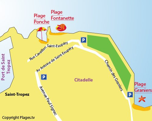 Map of Graniers Beach in Saint Tropez